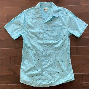 Haggar blue shirt w/ palm trees & hula girls motif